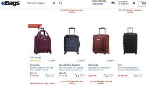 eBags smart luggage different brands