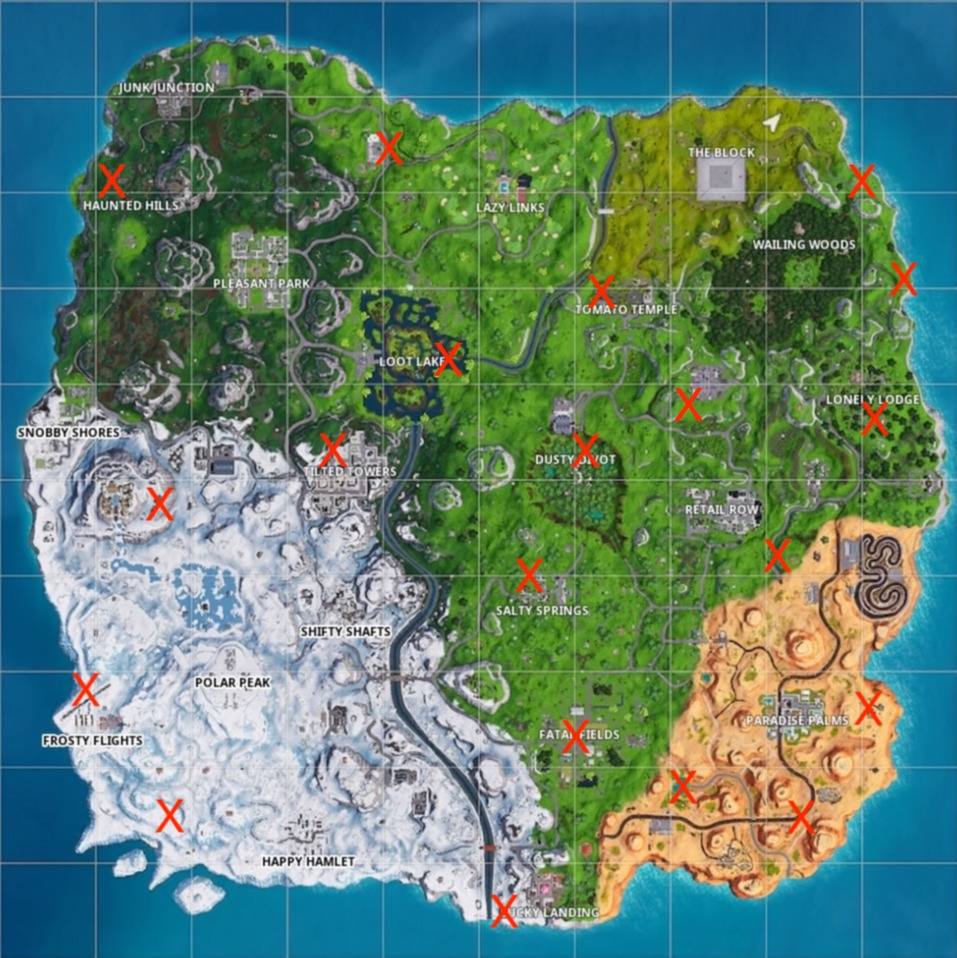 fortnite season 7 week 9 golden balloons map locations