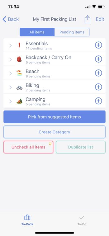 First Packing List