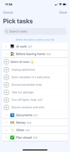 Packing List Tasks