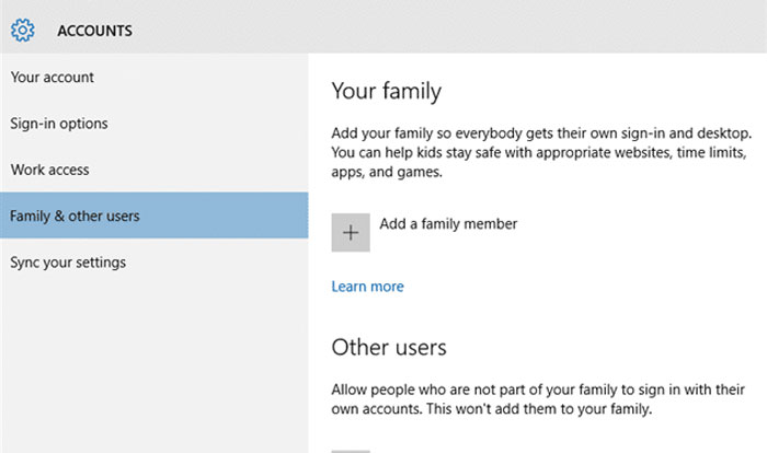 Family accounts and other users