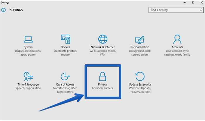 How to access the Privacy menu in Windows 10