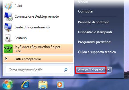 Spegnere il PC