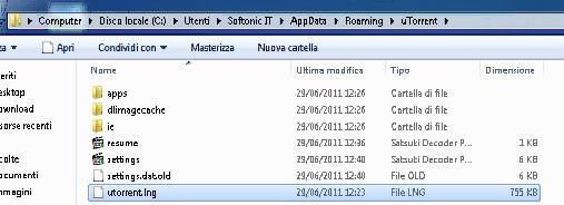 Dove copiare il file utorrent.lng se hai Windows 7
