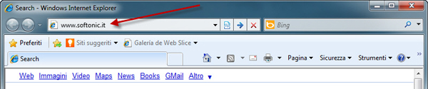 Softonic nella barra del browser
