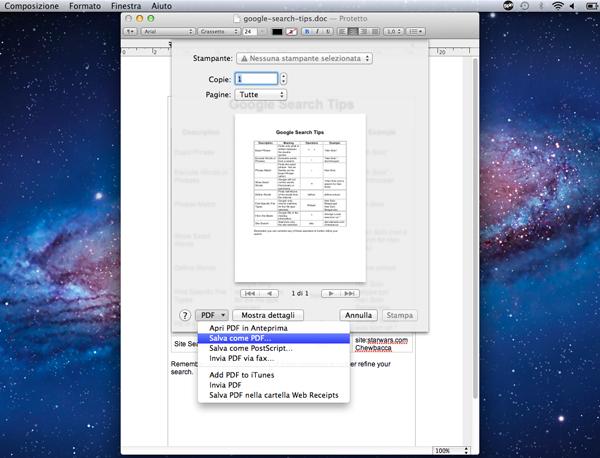 Creare un PDF col Mac