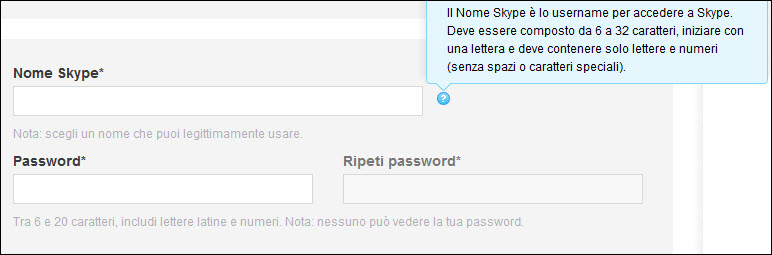 Registrazione a Skype