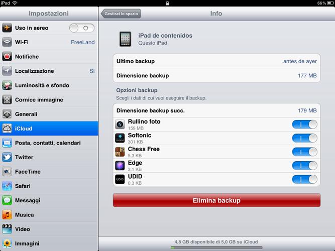 Elimina backup da iPhone