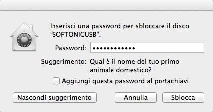 Inserisci password per aprire il volume