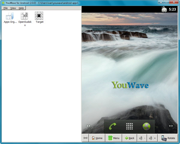 Schermata iniziale YouWave