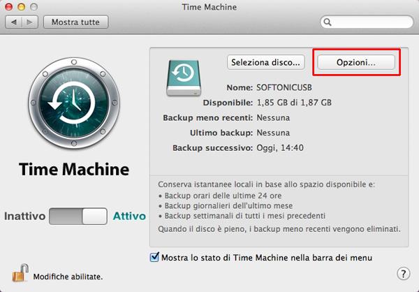 Opzioni Time Machine