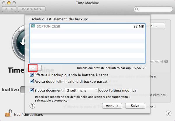 Aggiungi file da escludere nei backup
