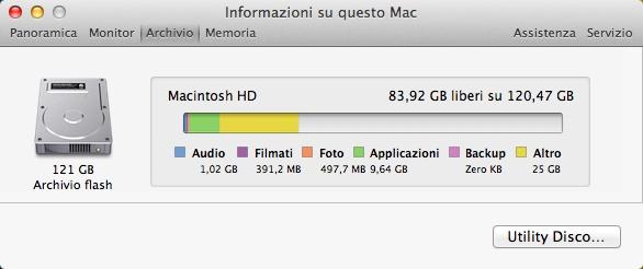 Capacità HD Mac