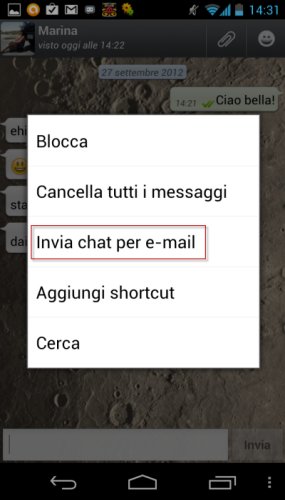 Inviare chat whatsapp per email
