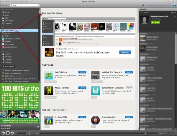 App Spotify - Overview pagina principale