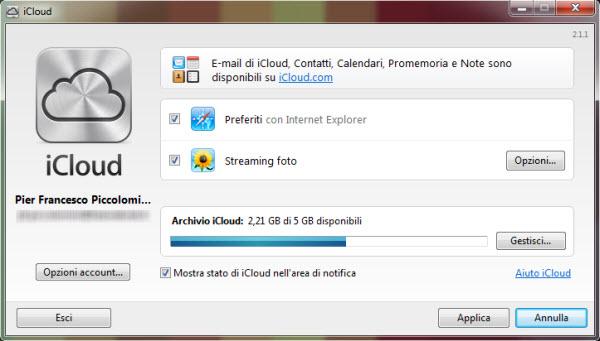 Interfaccia iCloud Control Panel