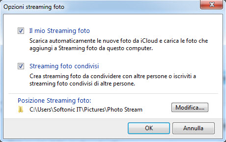 Opzioni streaming foto