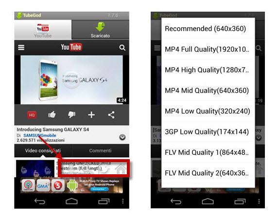 Le app per scaricare musica e video da youtube su android for App per vedere telecamere su android