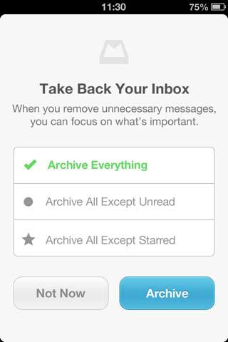 Opzioni iniziali di archiviazione Inbox