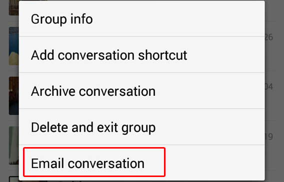 Send WhatsApp chat via email