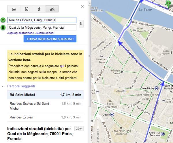 google maps ciclabile