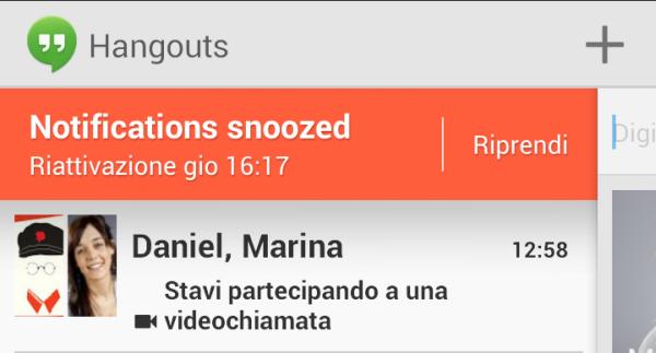 posso impostare lo status invisibile su google hangouts