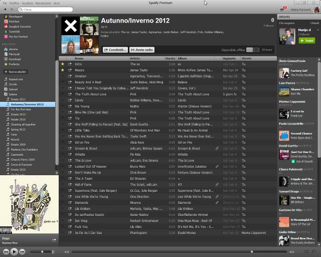 Interfaccia di Spotify