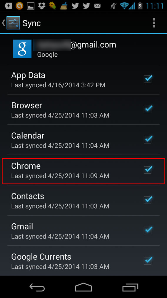 Chrome Android sync