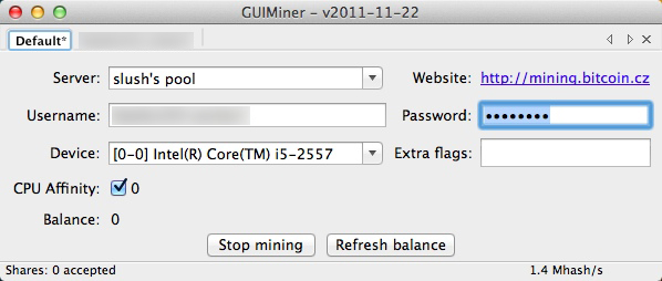 GUIMiner interfaccia Mac