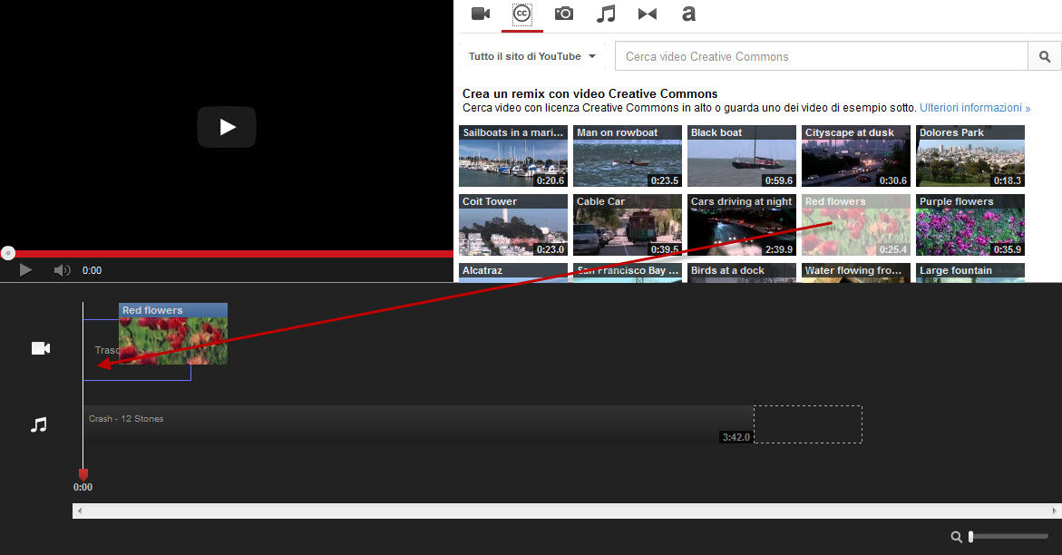 Trascina video