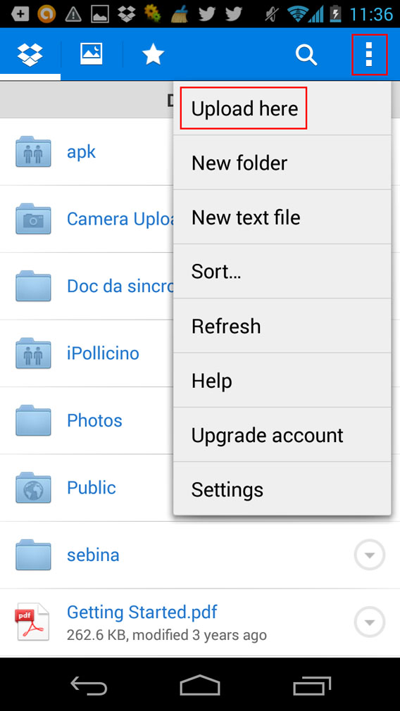 Upload here Dropbox Android