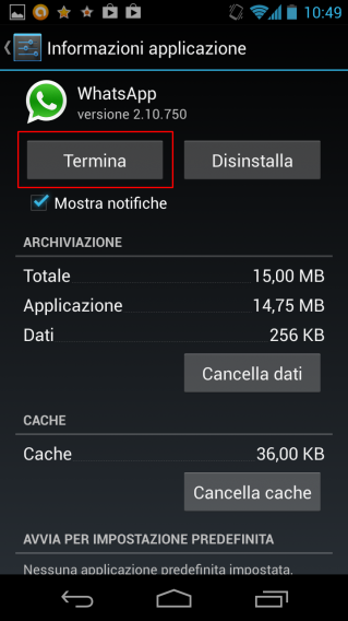 Forza chiusura app