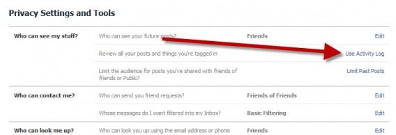 Recurso para ver todas atividades no Facebook