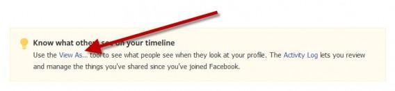 Opção para visualizar sua página como outra pessoa
