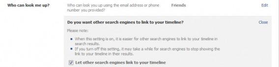O perfil pode ser excluído dos mecanismos de busca