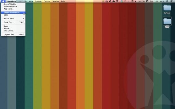 Para abrir o menu de Preferências de Sistemas, clique no ícone da maçã.