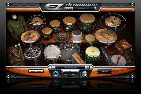 Tela do EZ Drummer