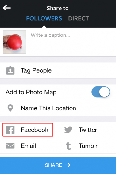 Instagram - Facebook sharing options