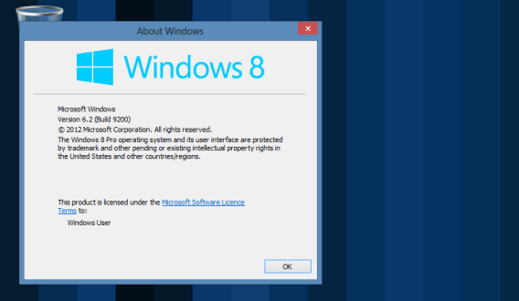 Find your Windows 8 version number