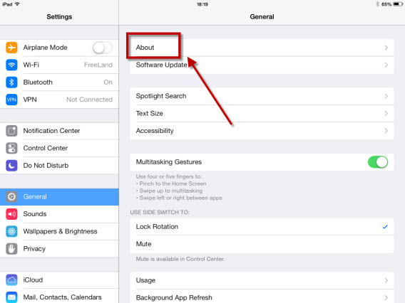 Your iPad settings