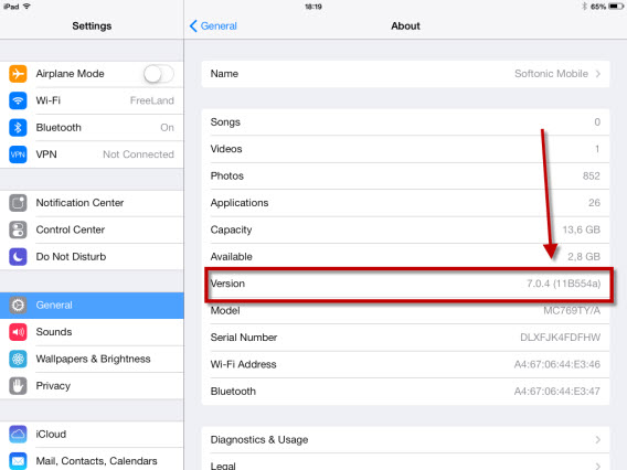Your iPad settings (2)