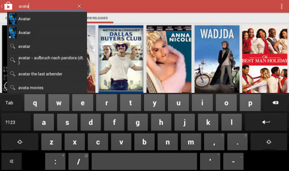Search for movies in Google Play Movies
