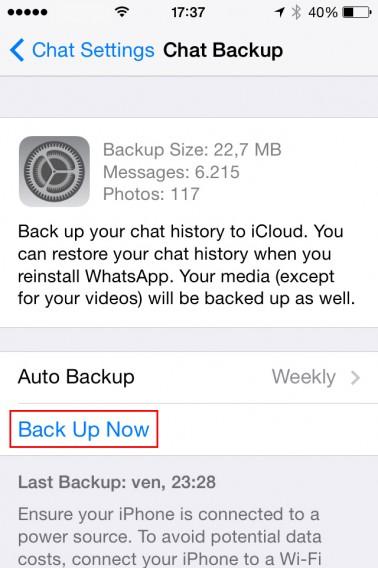 Cópia de segurança do WhatsApp
