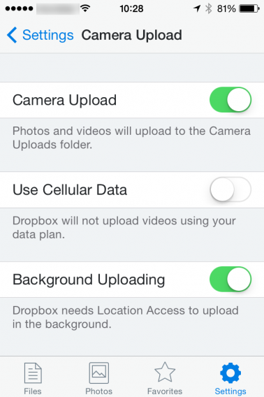 Dropbox camera upload