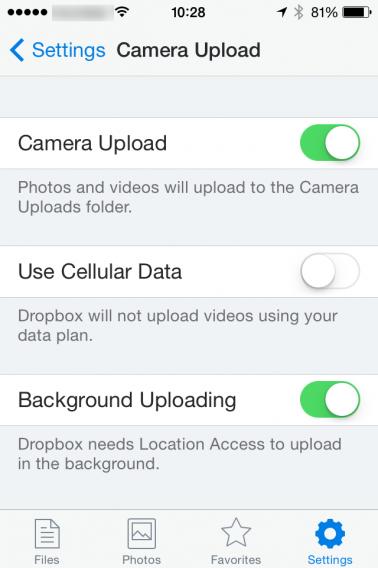 Tela de configurações de upload no Dropbox