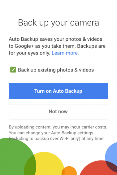 Gplus turn on auto backup