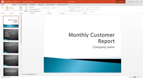 Apresentação no PowerPoint Online