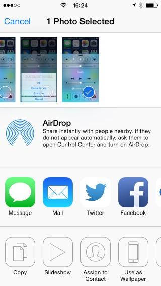 iOS - condividi via AirDrop