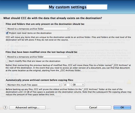 CCC - Custom settings