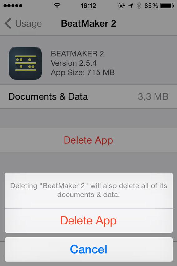 Confirm delete app